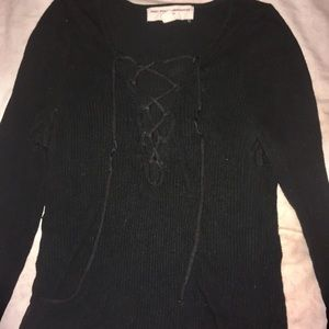 Urban outfitters black ripped lace up top (medium)